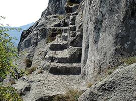 Стълбище направено от древните траки.