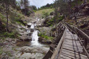 Дървеният мост и поточето под него.